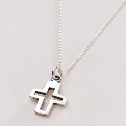 Unisex Silver Cross Necklace with Optional Engraving